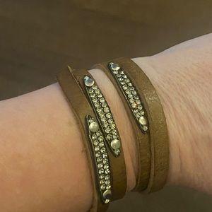 Leather wrap bedazzled bracelet